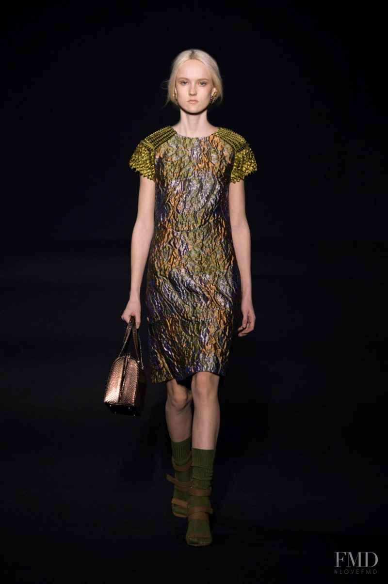 Harleth Kuusik featured in  the Alberta Ferretti fashion show for Autumn/Winter 2014