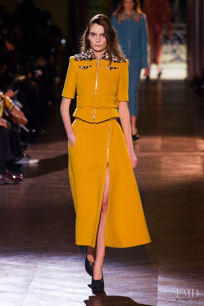 Suzie Bird featured in  the Carven fashion show for Autumn/Winter 2014