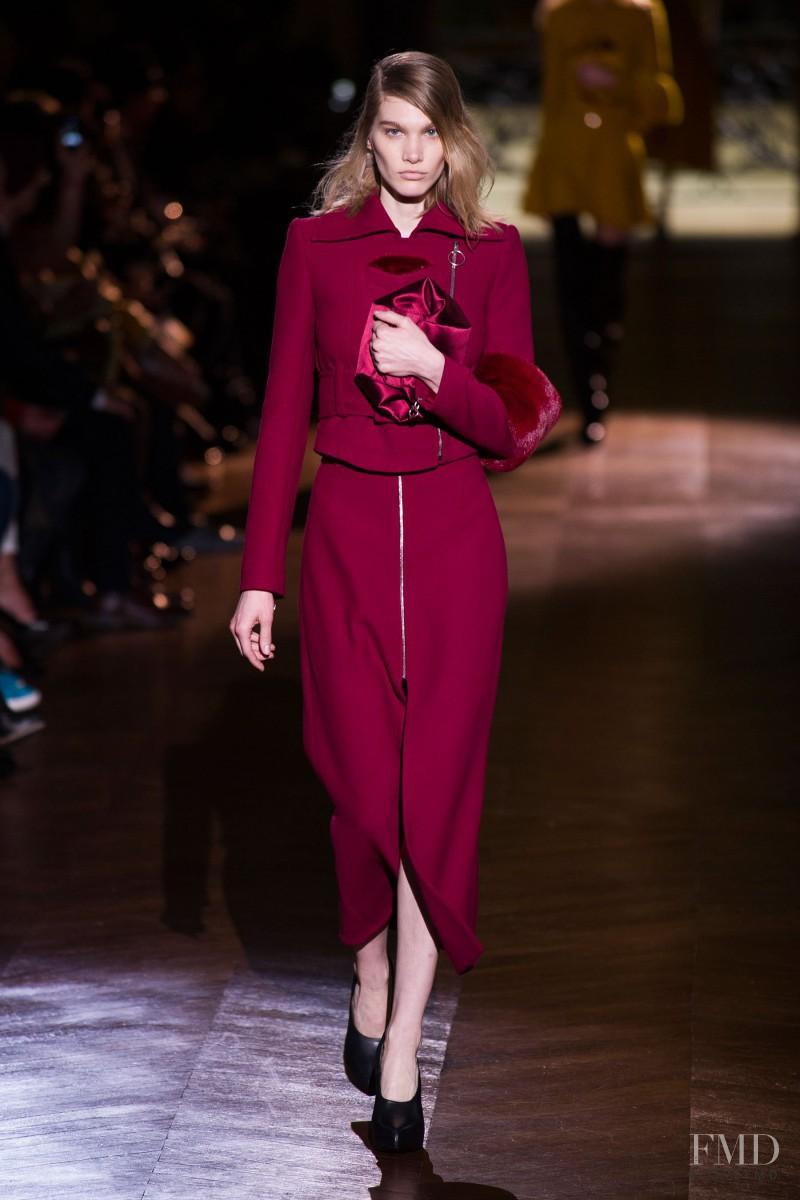 Irina Nikolaeva featured in  the Carven fashion show for Autumn/Winter 2014