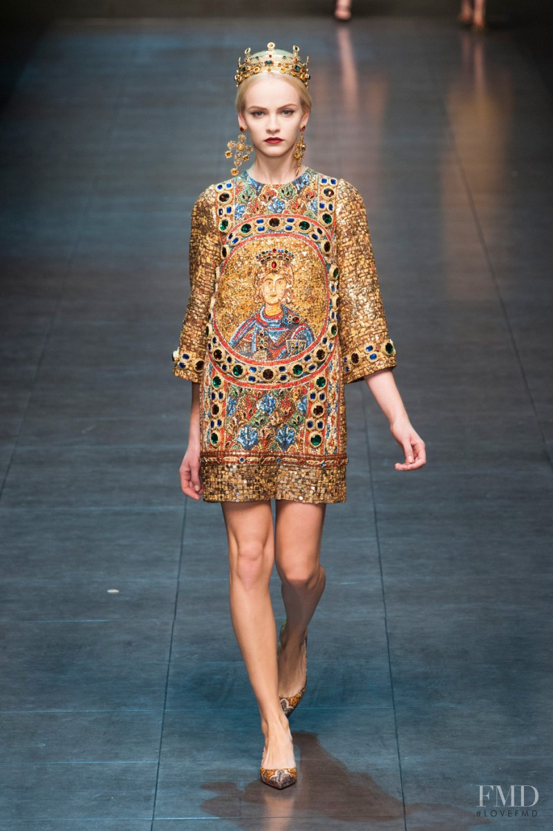 Ginta Lapina featured in  the Dolce & Gabbana fashion show for Autumn/Winter 2013