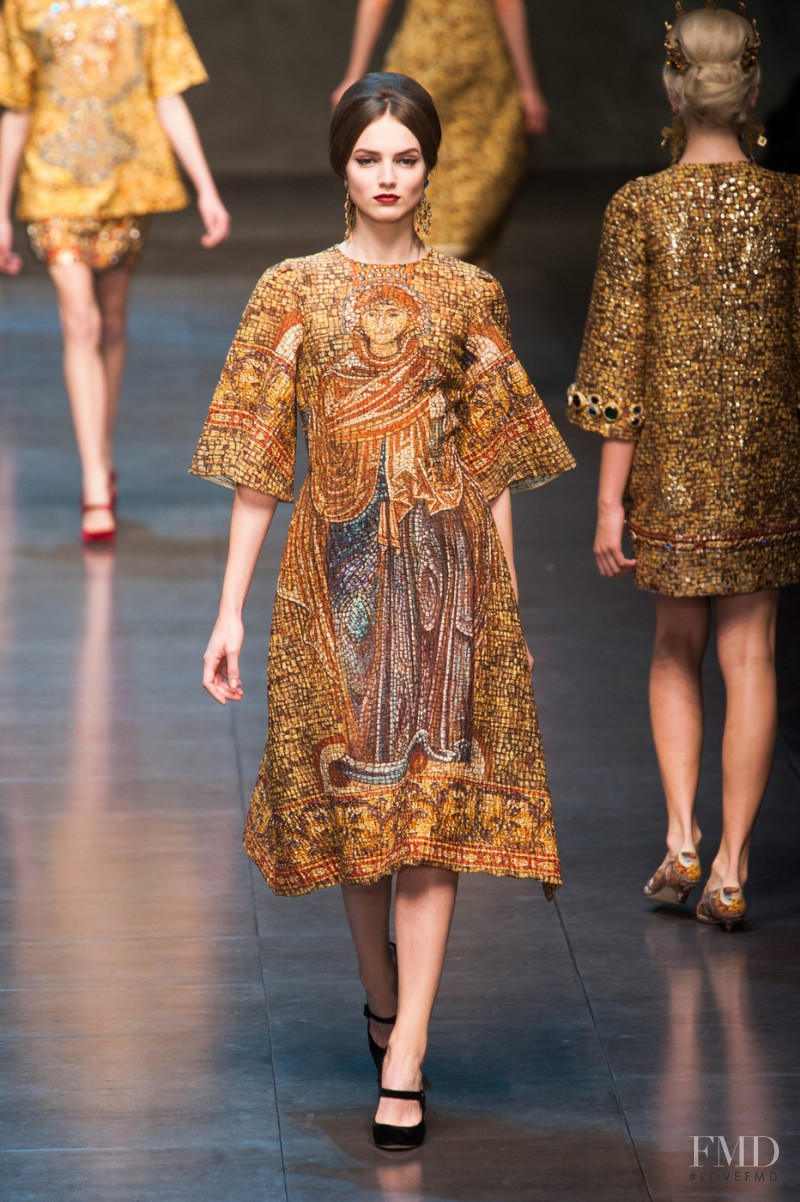 Agne Konciute featured in  the Dolce & Gabbana fashion show for Autumn/Winter 2013
