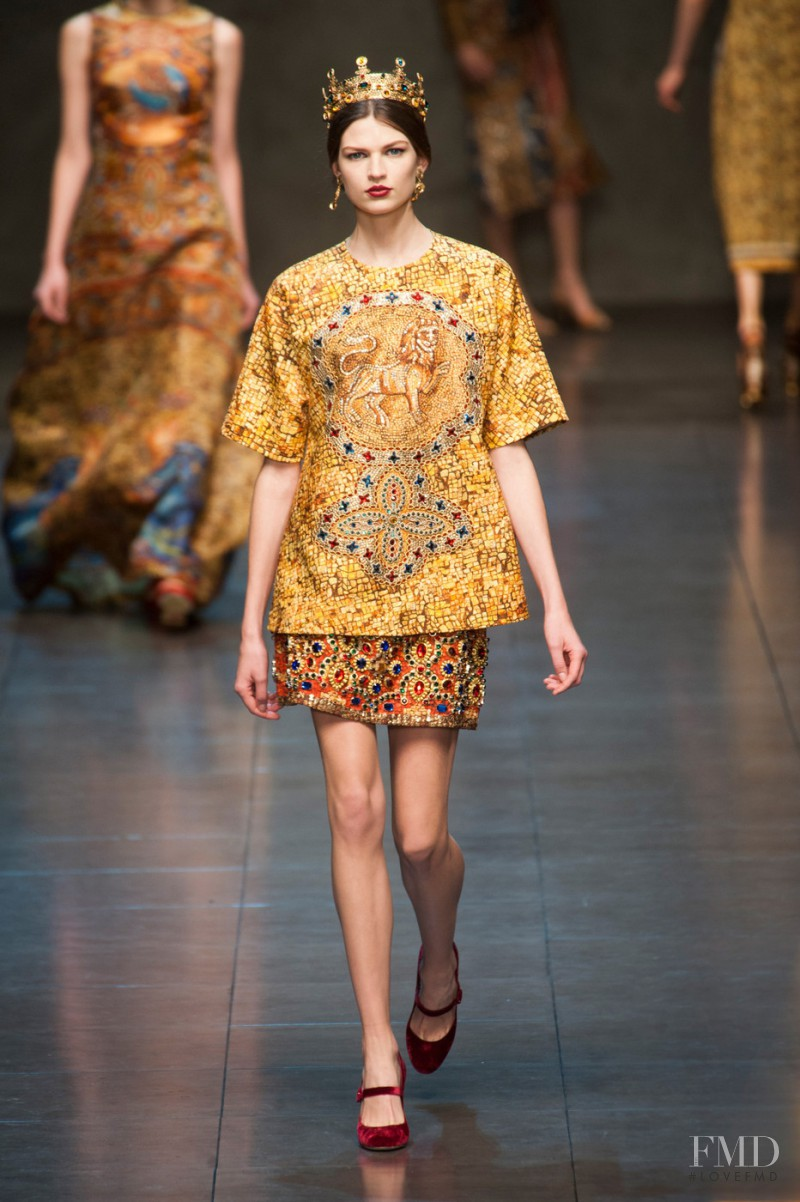 Bette Franke featured in  the Dolce & Gabbana fashion show for Autumn/Winter 2013