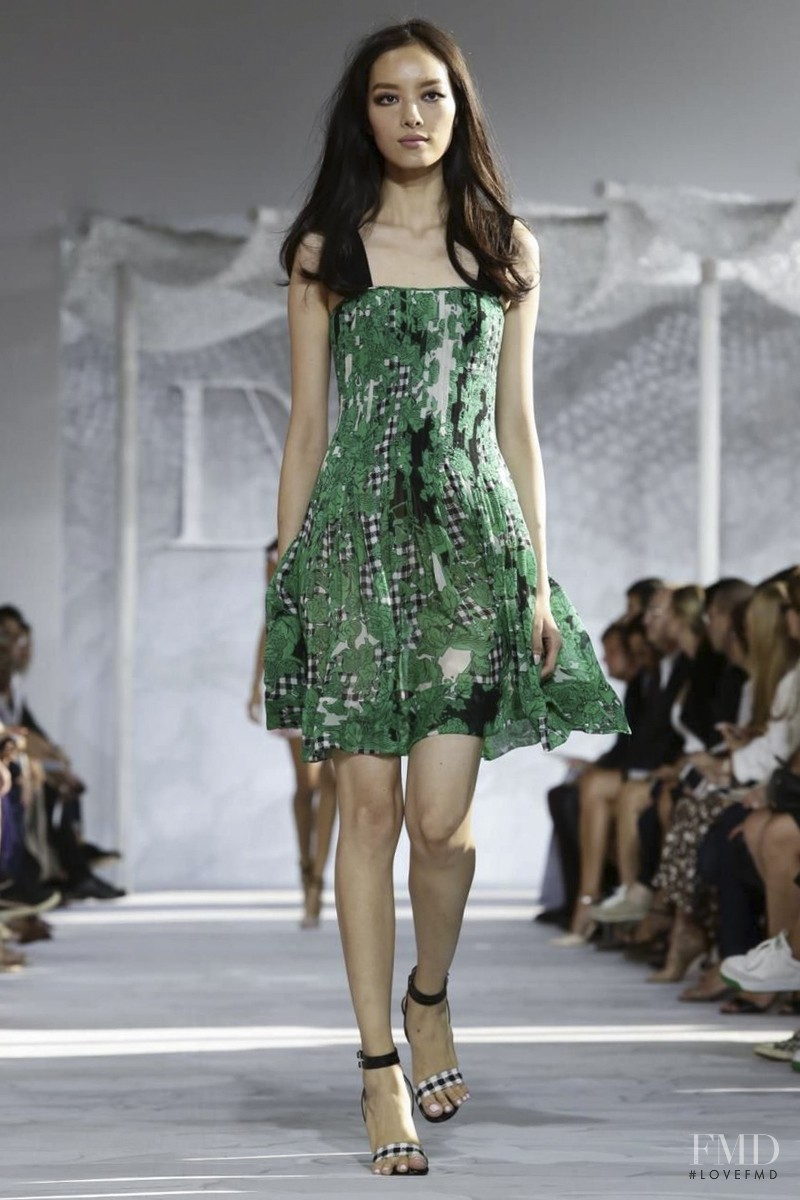 Fei Fei Sun featured in  the Diane Von F�rstenberg fashion show for Spring/Summer 2015