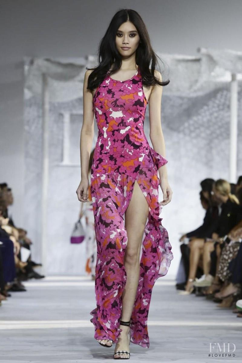 Ming Xi featured in  the Diane Von F�rstenberg fashion show for Spring/Summer 2015