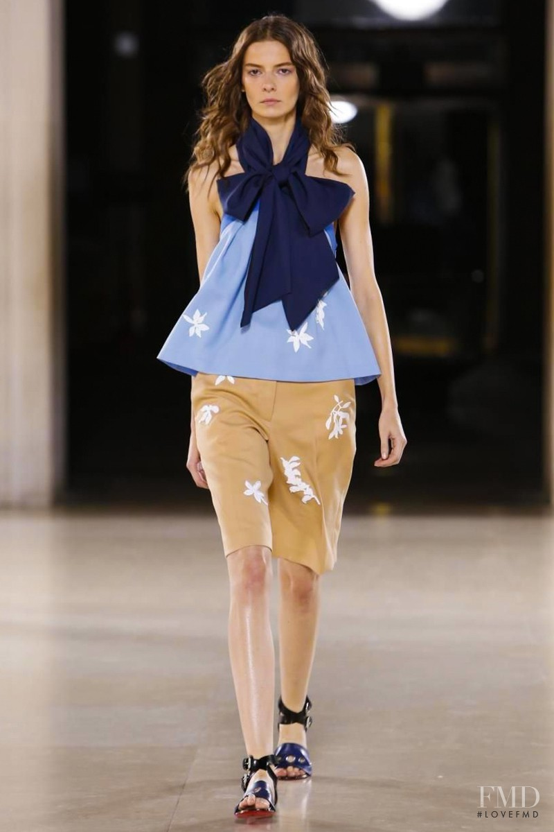 Dasha Denisenko featured in  the Jonathan Saunders fashion show for Spring/Summer 2015