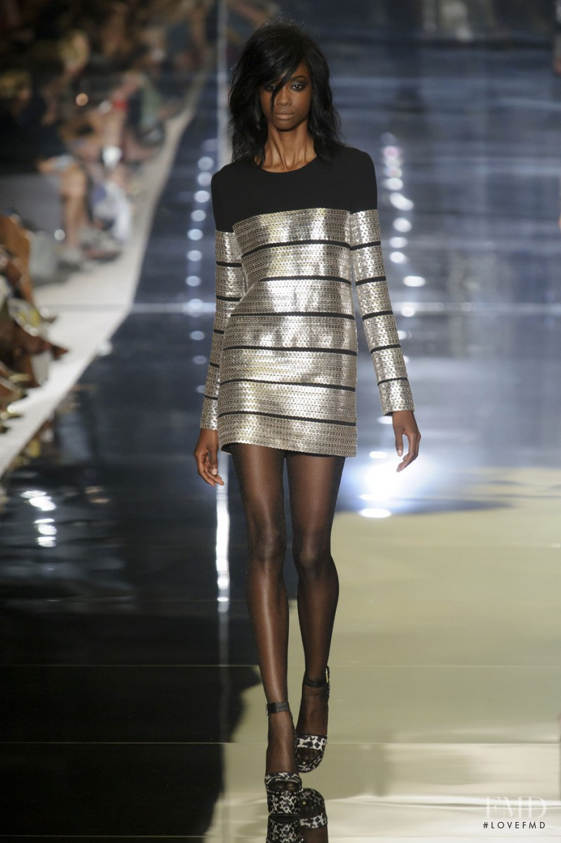 Crystal Noreiga featured in  the Tom Ford fashion show for Spring/Summer 2015