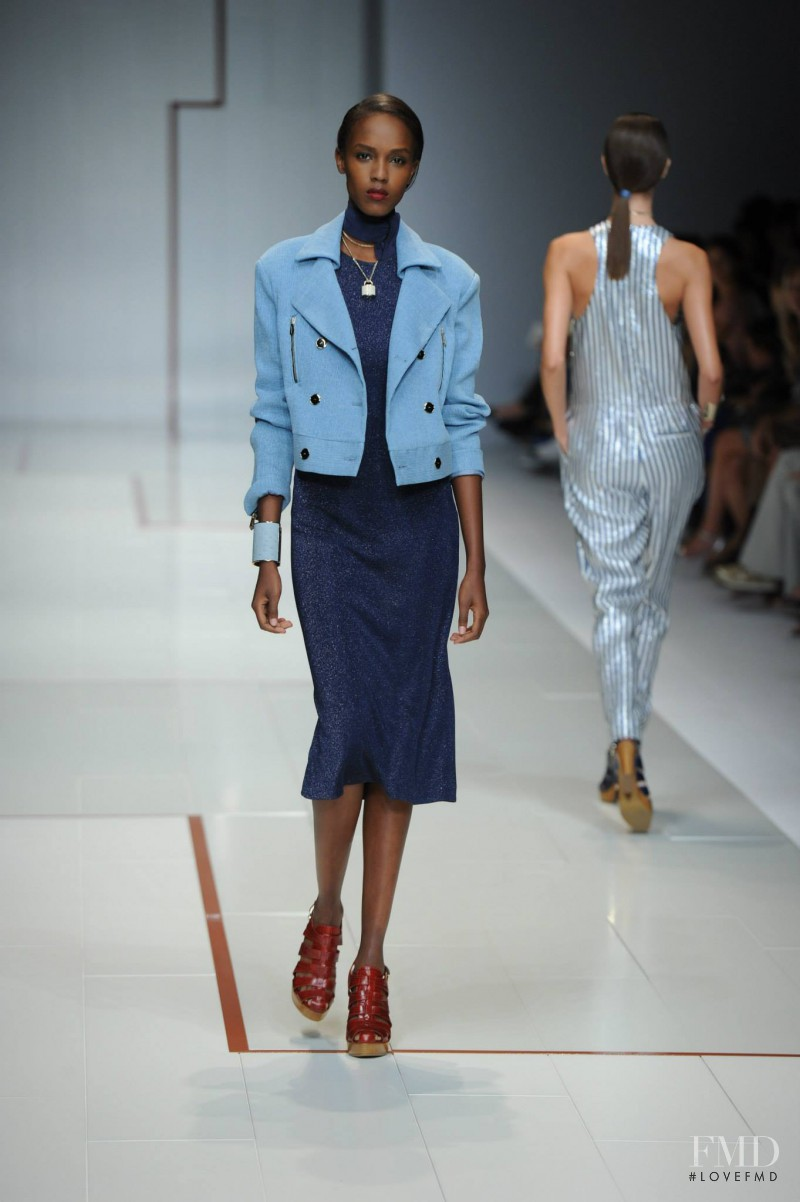 Leila Ndabirabe featured in  the Trussardi fashion show for Spring/Summer 2015