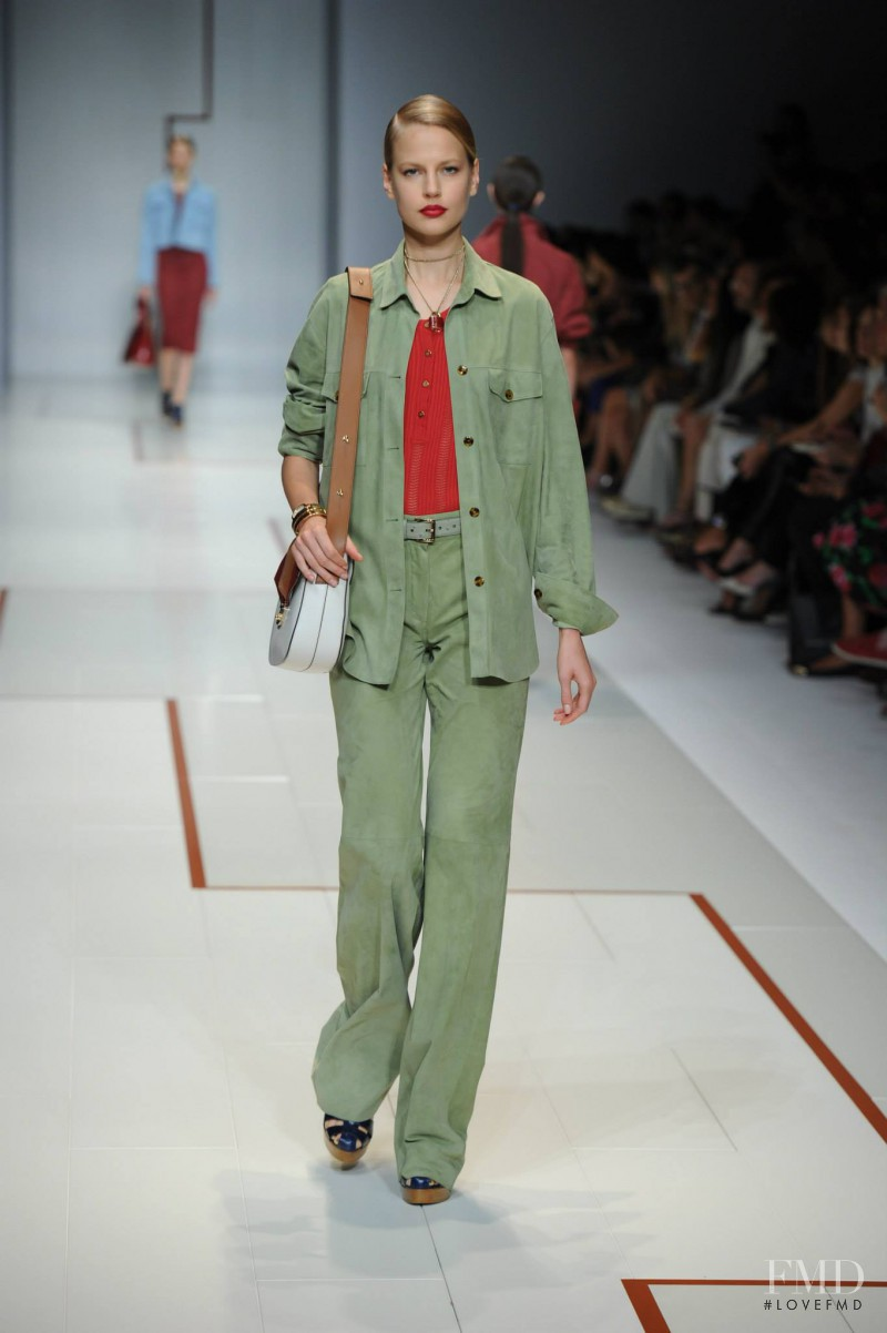 Elisabeth Erm featured in  the Trussardi fashion show for Spring/Summer 2015