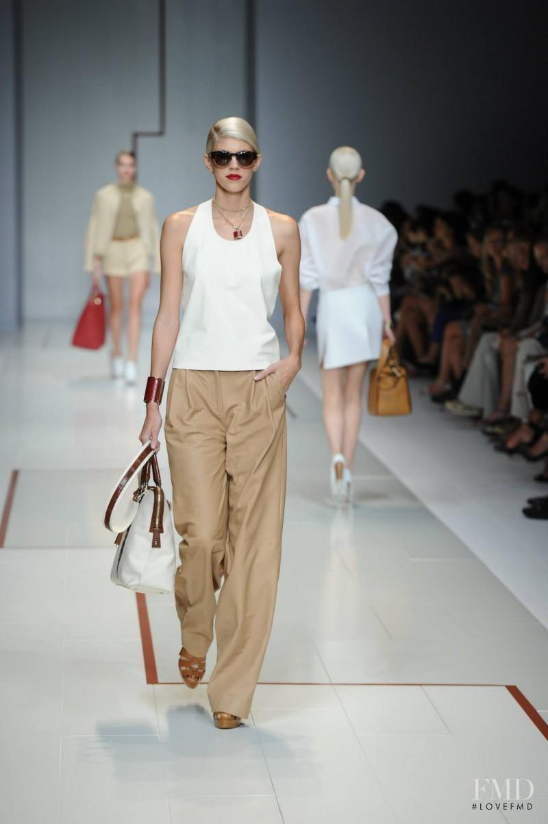 Devon Windsor featured in  the Trussardi fashion show for Spring/Summer 2015