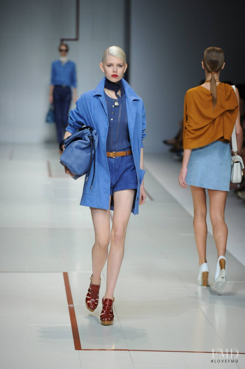 Ola Rudnicka featured in  the Trussardi fashion show for Spring/Summer 2015
