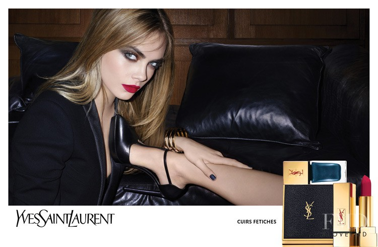 Cara Delevingne featured in  the YSL Beauty Leather Fetish advertisement for Autumn/Winter 2014
