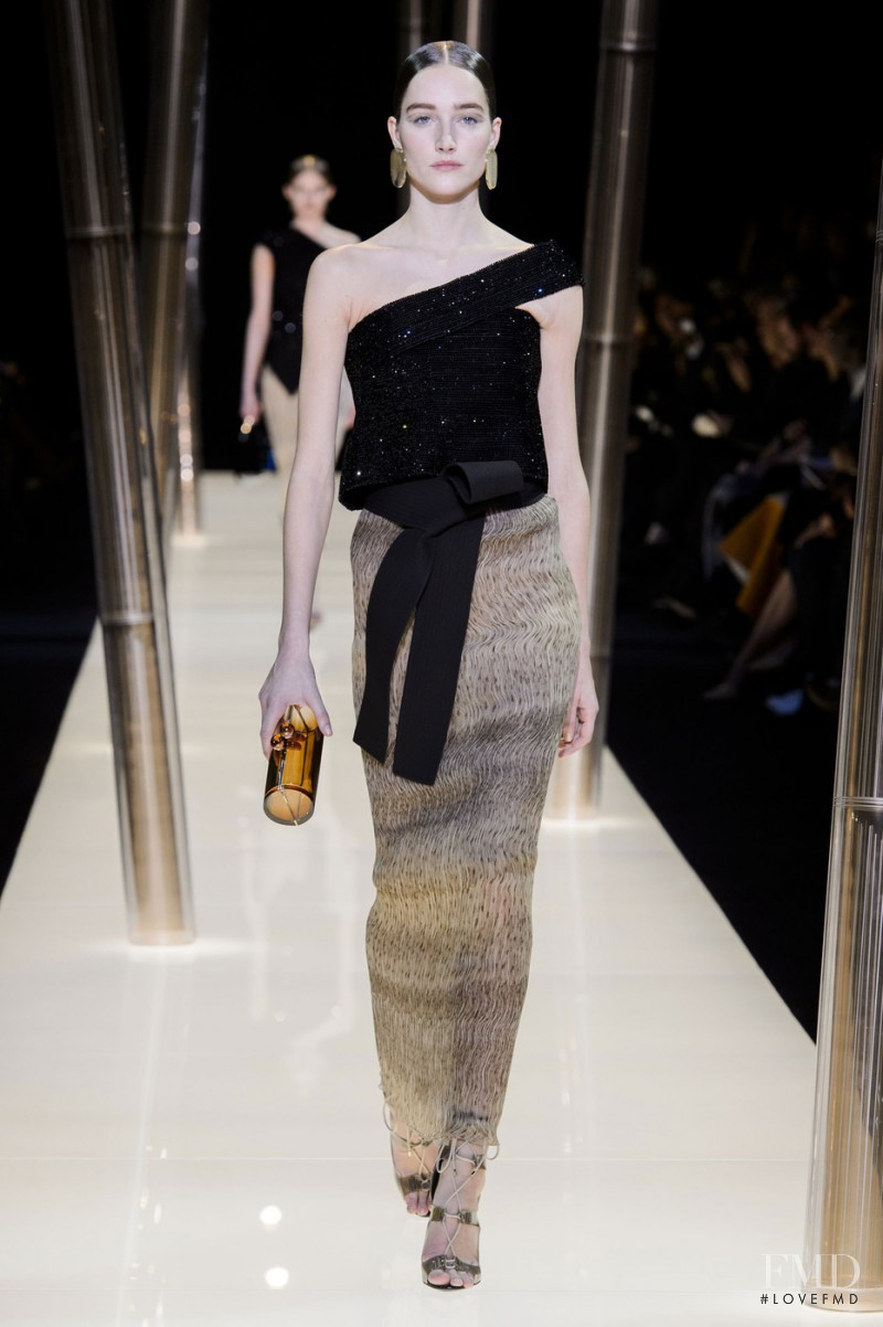 Joséphine Le Tutour featured in  the Armani Prive fashion show for Spring/Summer 2015