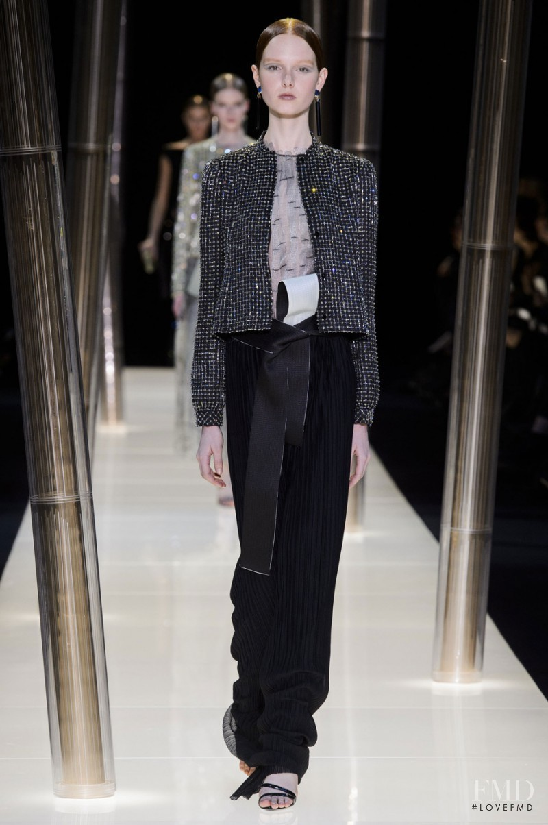 Grace Simmons featured in  the Armani Prive fashion show for Spring/Summer 2015