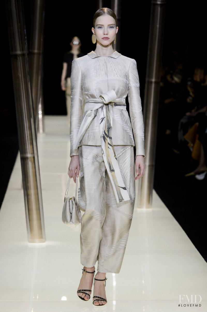 Sasha Luss featured in  the Armani Prive fashion show for Spring/Summer 2015